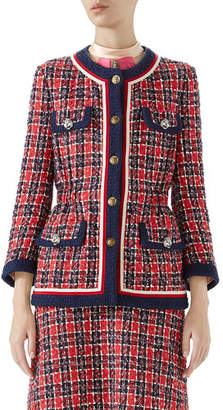 Gucci Button-Front 4-Pocket Woven Tweed Jacket w/ Fitted Waist