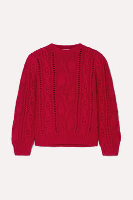Co Cable-knit Wool And Cashmere-blend Sweater - Red