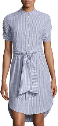 Neiman Marcus Striped Seersucker Tie-Waist Shirtdress, Blue/White $119 thestylecure.com
