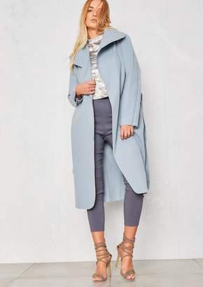 Missy Empire Missyempire Shay Blue Waterfall Drape Coat