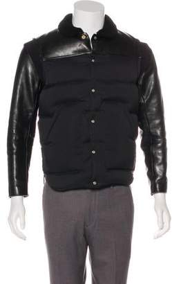 Undercover Leather-Trimmed Quilted Down Jacket