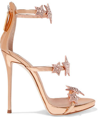 Giuseppe Zanotti Coline Crystal-embellished Appliquéd Metallic Leather Sandals - Pink