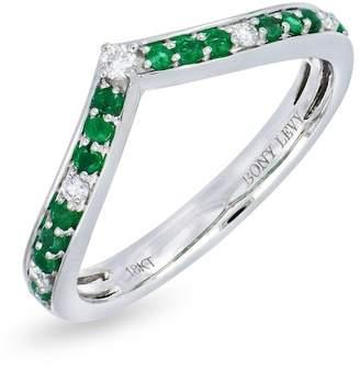 Bony Levy 18K White Gold Channel Set Diamond & Emerald Chevron Ring - 0.09 ctw
