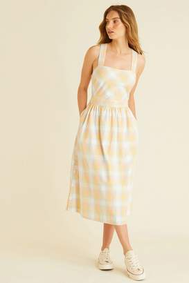 Oliver Bonas Womens Check Cross Back Sun Dress - Yellow