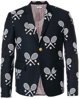 Thom Browne High Armhole Single Breasted Sport Coat In Super 120's Twill With Broderie Anglaise Tennis Racket Half Drop