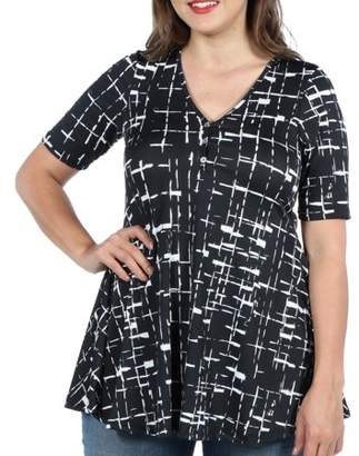 24/7 Comfort Apparel 24Seven Comfort Apparel Amina Henley Style Black and White Plus Size Tunic Top