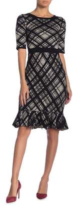 Taylor Plaid Flounce Hem Sweater Dress