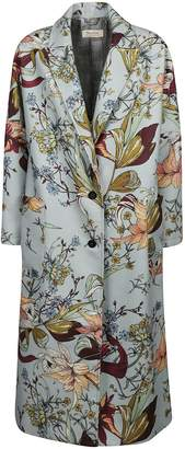 Black Coral Floral Print Coat