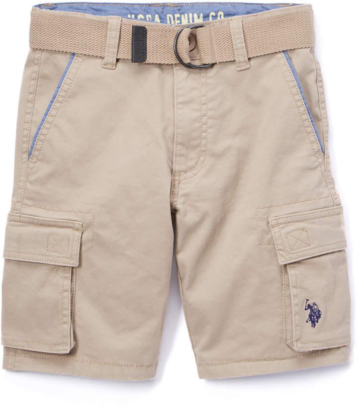 Light Khaki Twill Belted Cargo Shorts - Boys