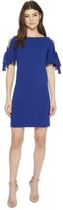 Adrianna Papell Knit Crepe Ribbon Tie Shift Women's Dress