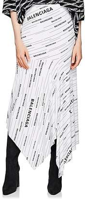 Balenciaga Women's Logo Jersey Asymmetric Skirt - White