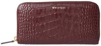 Whistles Shiny Leather Croc Design Long Purse - Plum