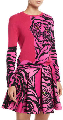 Valentino Tiger-Intarsia Crewneck Cashmere Sweater