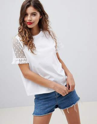 Asos Design T-Shirt With Dobby Ruffle Sleeve