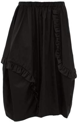 Comme des Garcons Ruffled Technical Sateen Skirt - Womens - Black