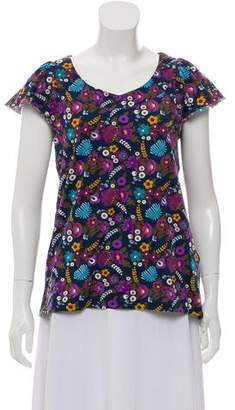 Cacharel Floral Print Cap Sleeve Top