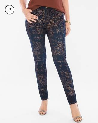 Platinum Petite Lace Foil Jeggings