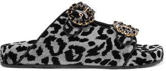 Dolce & Gabbana Crystal-embellished Flocked Canvas Sandals - Leopard print