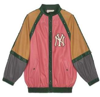 Gucci Leather bomber jacket with NY YankeesTM patch