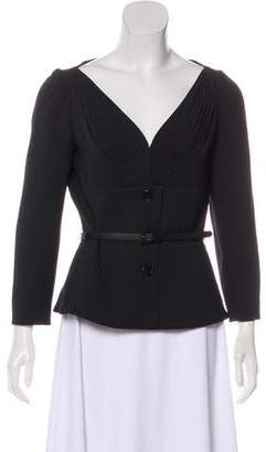 Christian Dior Collarless Long Sleeve Jacket