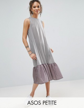 ASOS Petite ASOS PETITE Midi Dress in Stripe with Contrast Woven Frill Hem $46 thestylecure.com