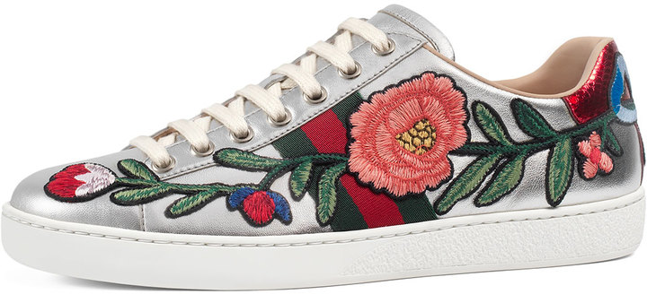Gucci New Ace Floral Leather Sneaker, Silver 3