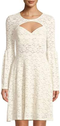 BCBGMAXAZRIA Bell-Sleeve Floral-Lace Illusion Dress