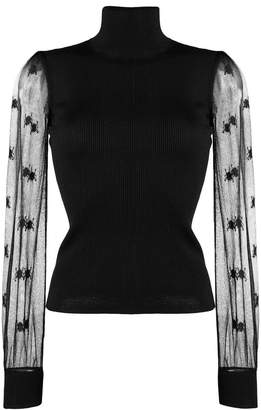 Alexander McQueen embroidered sheer sleeved blouse