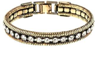 Co Halo & Crystal And Rope Chain Cuff In Dark Antique Gold Colour