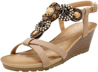 PPXID Women's Slingback T-Strap Bohemian Beads Wedge Prime Thong Sandals- 5 US