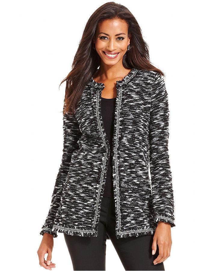 Charter Club Sweater, Long-Sleeve Tweed Metallic Cardigan