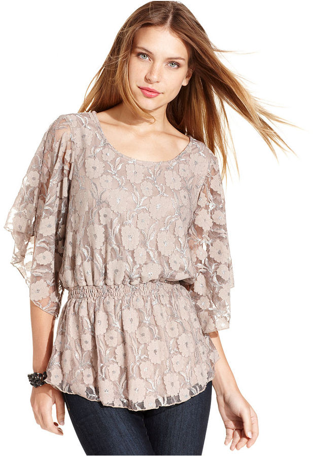 Style&Co. Top, Three-Quarter-Sleeve Lace Smocked
