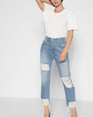 7 For All Mankind High Waist Josefina with Destroy in Vintage Wythe with Studs