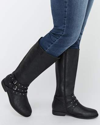 Sadie Knee High Boots with Buckle Straps