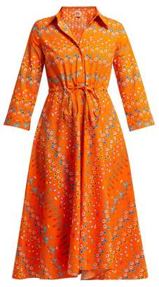 Le Sirenuse Le Sirenuse, Positano - Lucy Floral Print Cotton Midi Dress - Womens - Orange Print