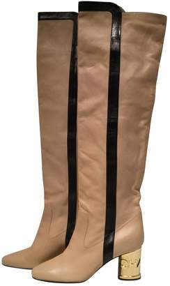 Chanel Beige Leather Boots