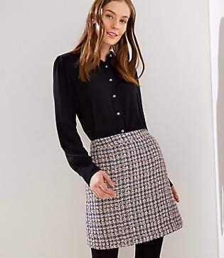 LOFT Petite Checked Tweed Shift Skirt