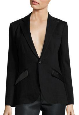 Polo Ralph Lauren Leather-Trim Knit Blazer $398 thestylecure.com
