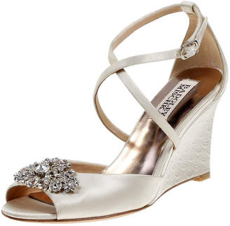 Badgley Mischka Abigail Embellished Satin Wedge Sandals