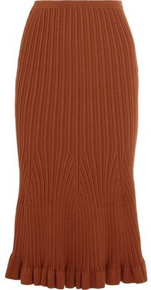 Victoria Beckham Fluted Ribbed-Knit Stretch-Cotton Midi Skirt