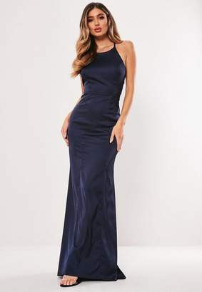 02cc3a3266 Missguided Bridesmaid Navy Satin Round Neck Backless Maxi Dress