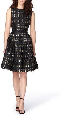 Tahari Metallic Jacquard Fit & Flare Dress $168 thestylecure.com