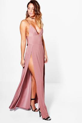 boohoo Lilibeth Double Thigh Split Slinky Maxi Dress $35 thestylecure.com