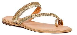 Good Choice New York Nyree Embellished Toe Ring Flat Sandal