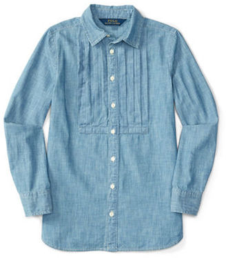Ralph Lauren Childrenswear Girls 7-16 Long Sleeve Chambray Top $49.50 thestylecure.com