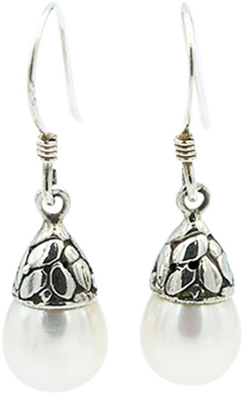 Exex Design Jewelry Sterling Silver Kazan 10mm Natural Pearl Drop Earrings