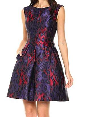 Anne Klein Women's Inverted Fit and Flare Jacquard Dress