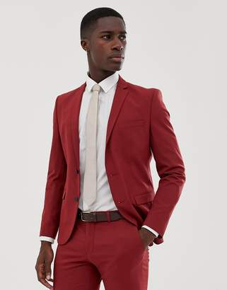 Selected Red Suit Jacket In Skinny Fit