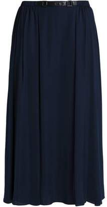 Halston Belted Satin Midi Skirt