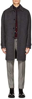 Prada Men's Checked Wool Four-Button Car Coat - Gray